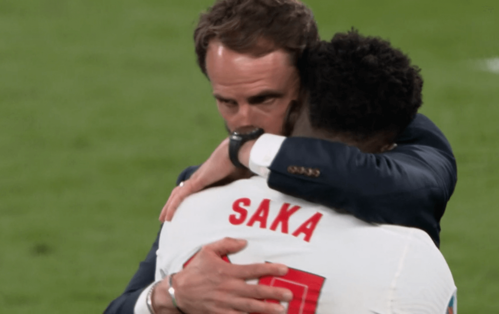 southgate consoles saka after penalty miss